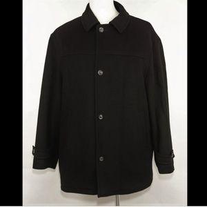 ALFANI 100% wool black pea coat jacket quilt liner